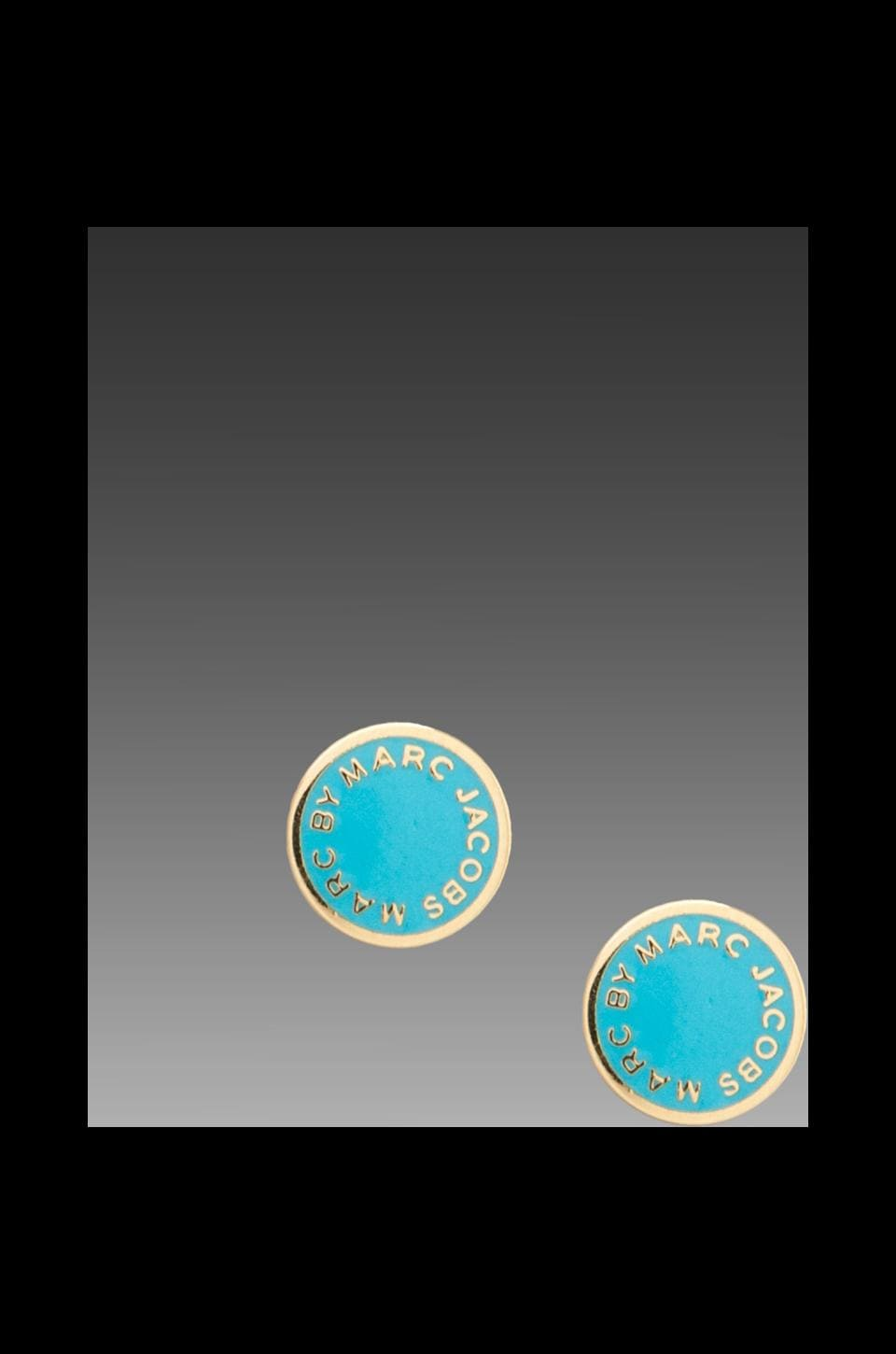 Marc by Marc Jacobs Classic Marc Enamel Logo Disc Studs in Aqua Foil (Oro)