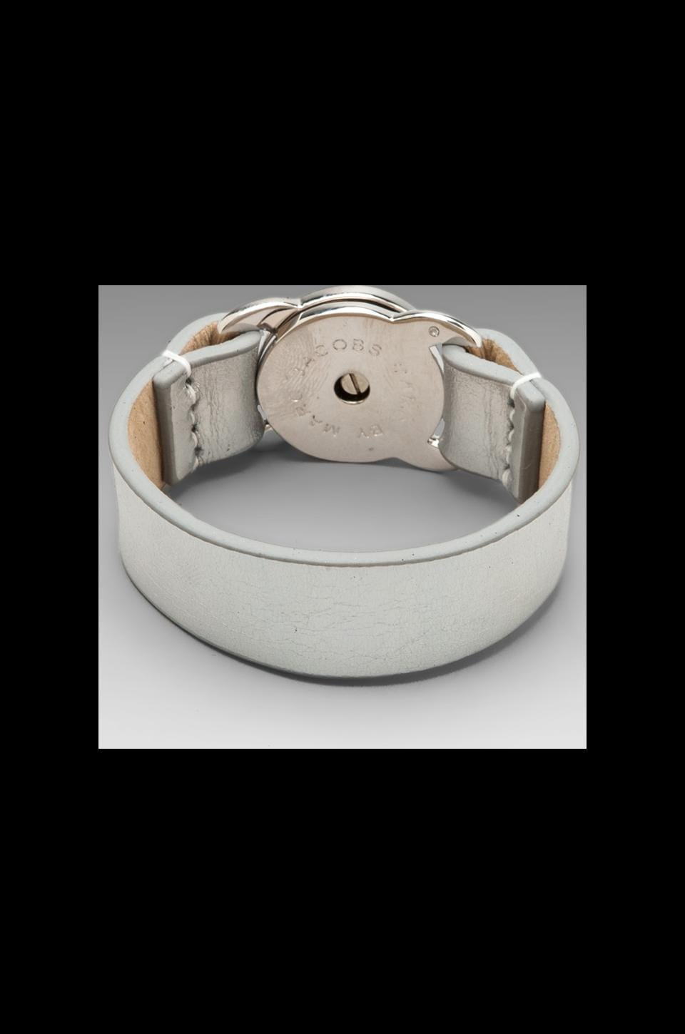 Marc by Marc Jacobs Leather Bracelets Large Turnlock Leather Bracelet in Light Holographic (Argento)