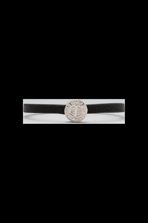 Marc by Marc Jacobs Skinny Engraved Turnlock Leather Bracelet in Black/Argento
