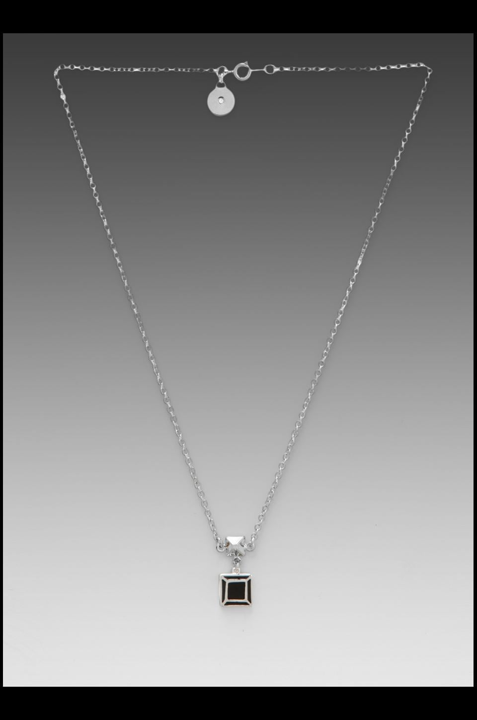 Marc by Marc Jacobs Gem Slices Pyramid Necklace in Black/ Argento