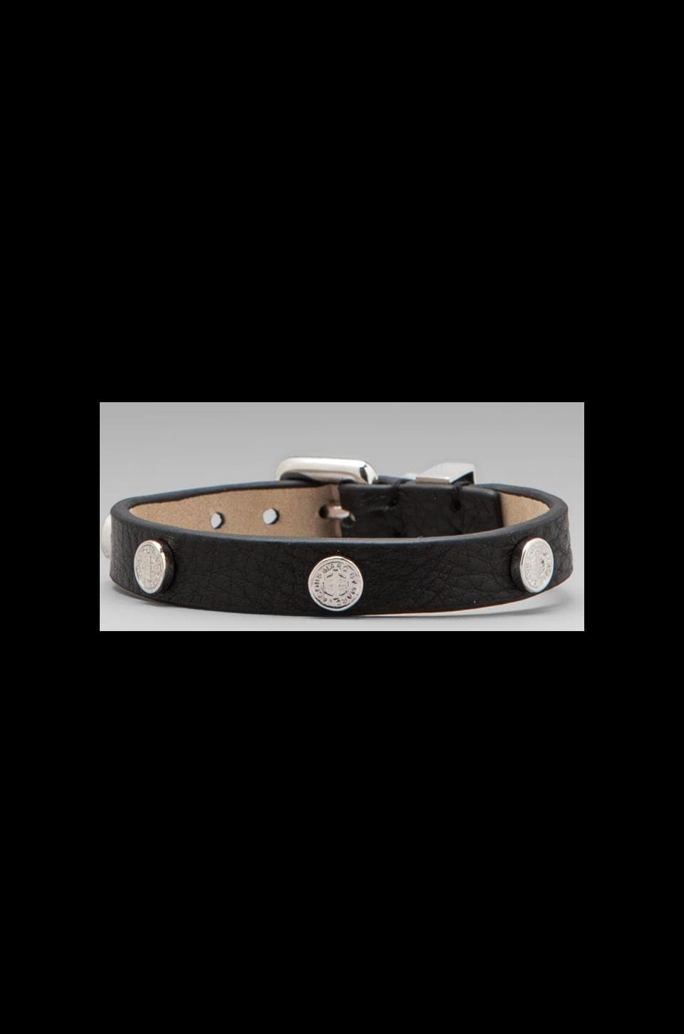 Marc by Marc Jacobs Turnlock Charm Leather Bracelet in Black/Argento