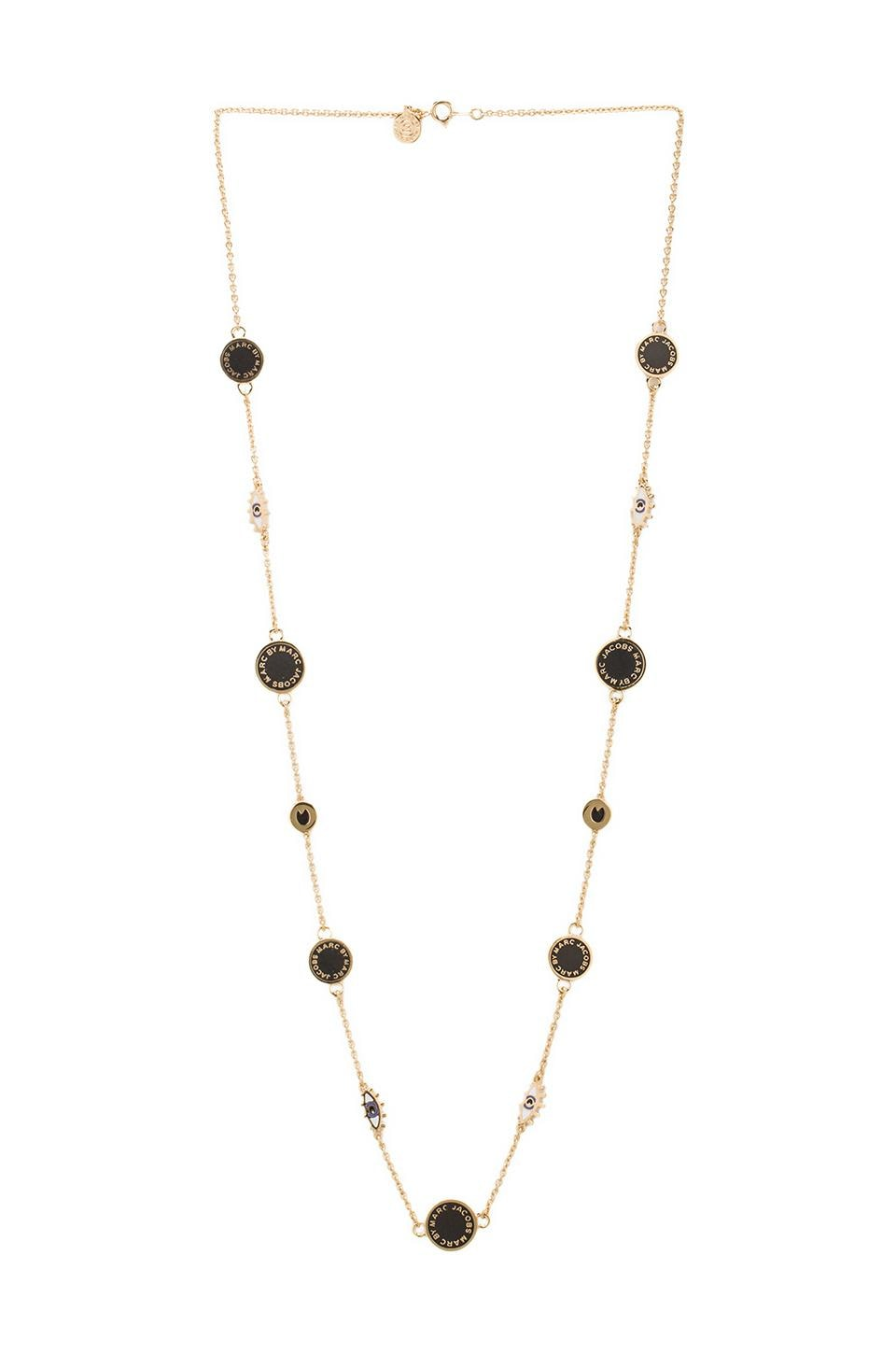Marc by Marc Jacobs Long Evil Eye Medley Necklace in Black (Oro)