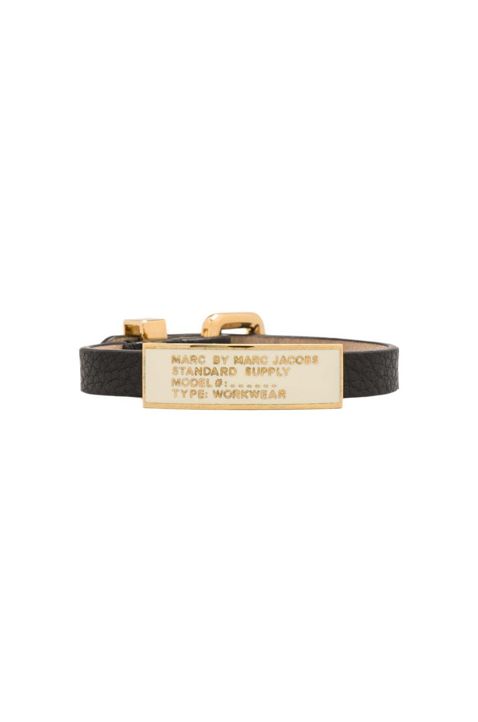 Marc by Marc Jacobs Enamel Standard Supply ID Bracelet in Black/Cream (Oro)