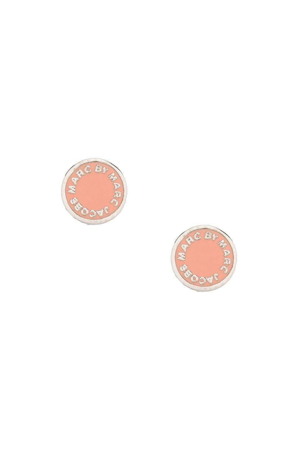 Marc by Marc Jacobs Enamel Logo Disc Studs in Rogue (Argento)
