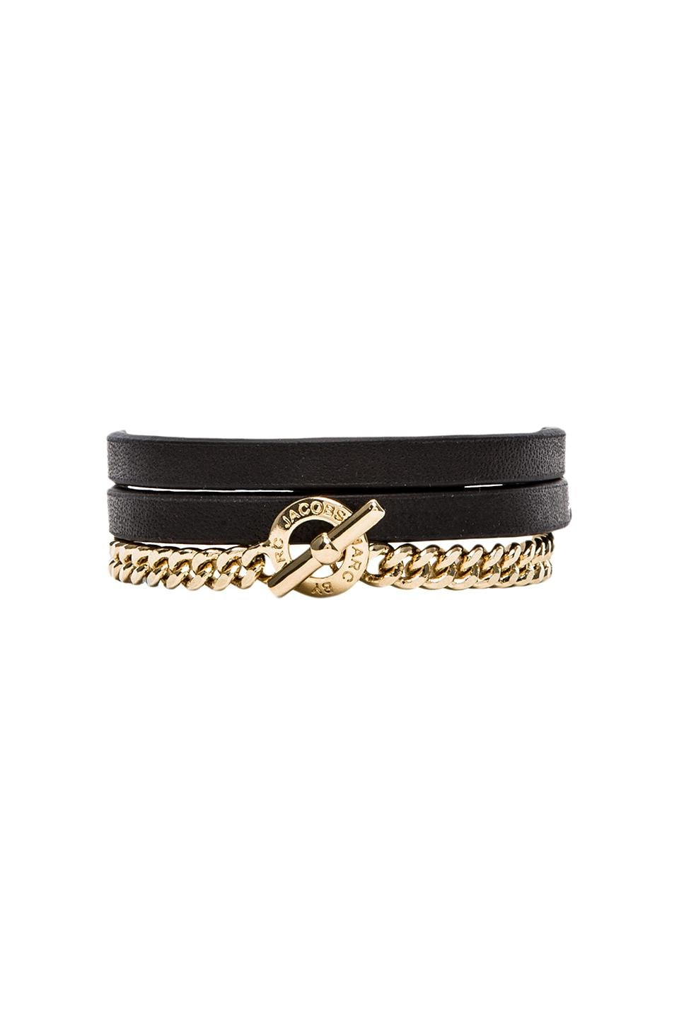 Marc by Marc Jacobs Triple Wrap Leather & Chain Bracelet in Black (Oro)
