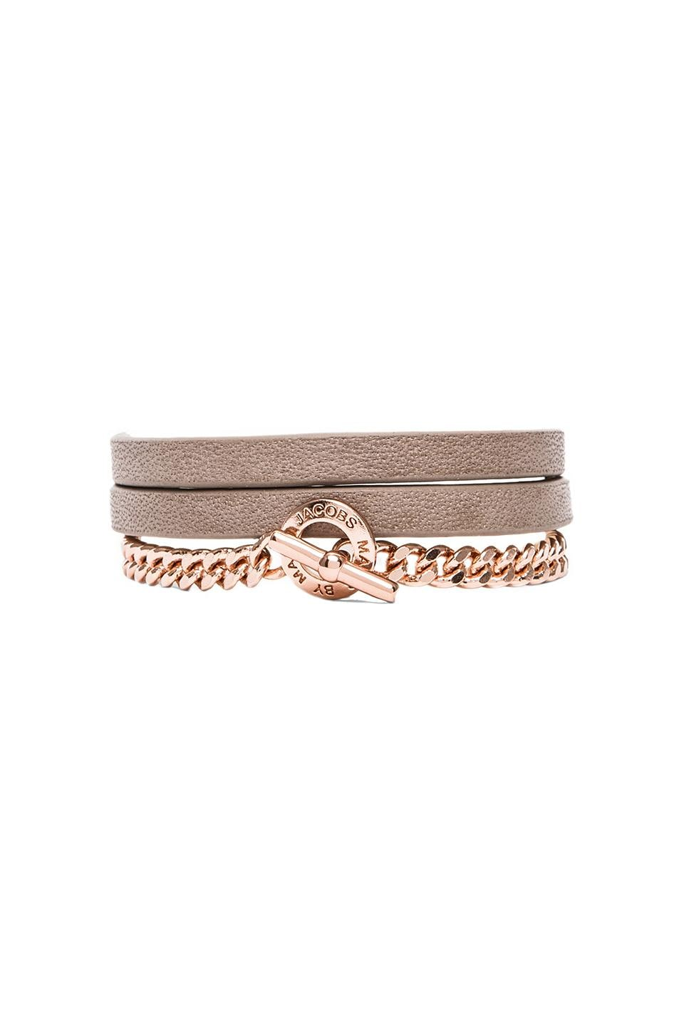 Marc by Marc Jacobs Triple Wrap Leather & Chain Bracelet in Warm Zinc (Rose Gold)