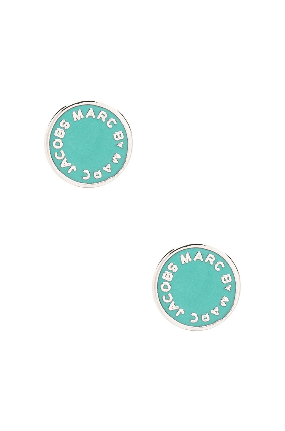 Marc by Marc Jacobs Enamel Logo Disc Studs in Aqua Lagoon (Argento)