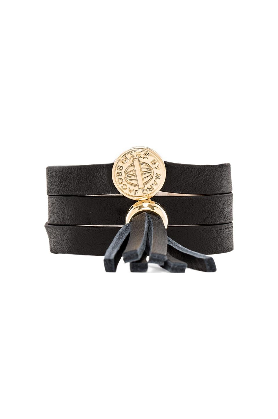 Marc by Marc Jacobs Triple Wrap Leather Bracelet en Black (Oro)