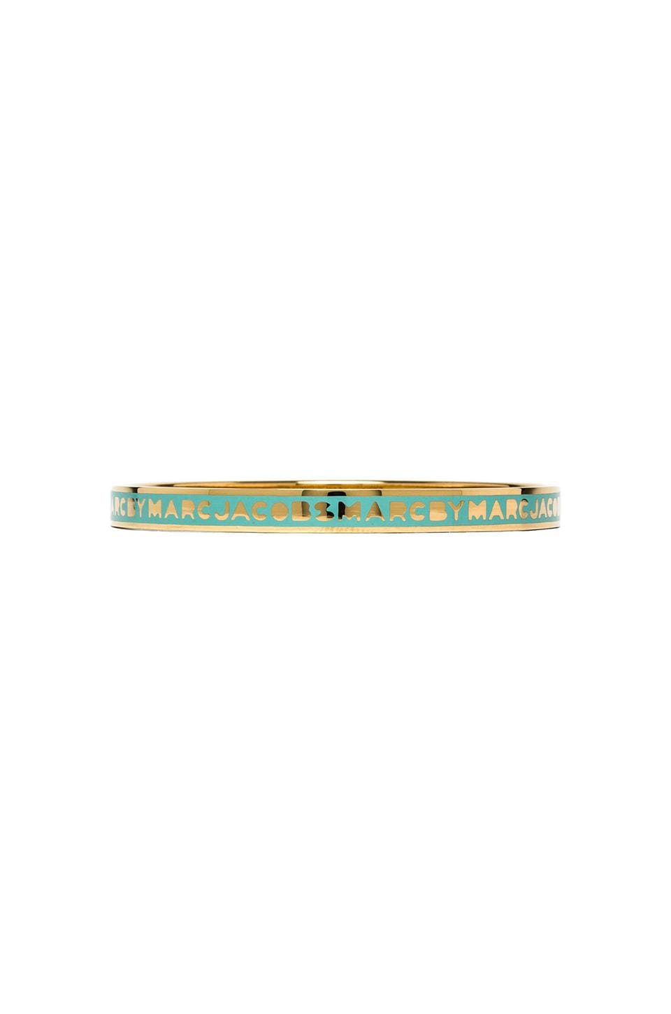 Marc by Marc Jacobs Classic Marc Shiny Logo Bangle in Dusty Jade Green & Oro