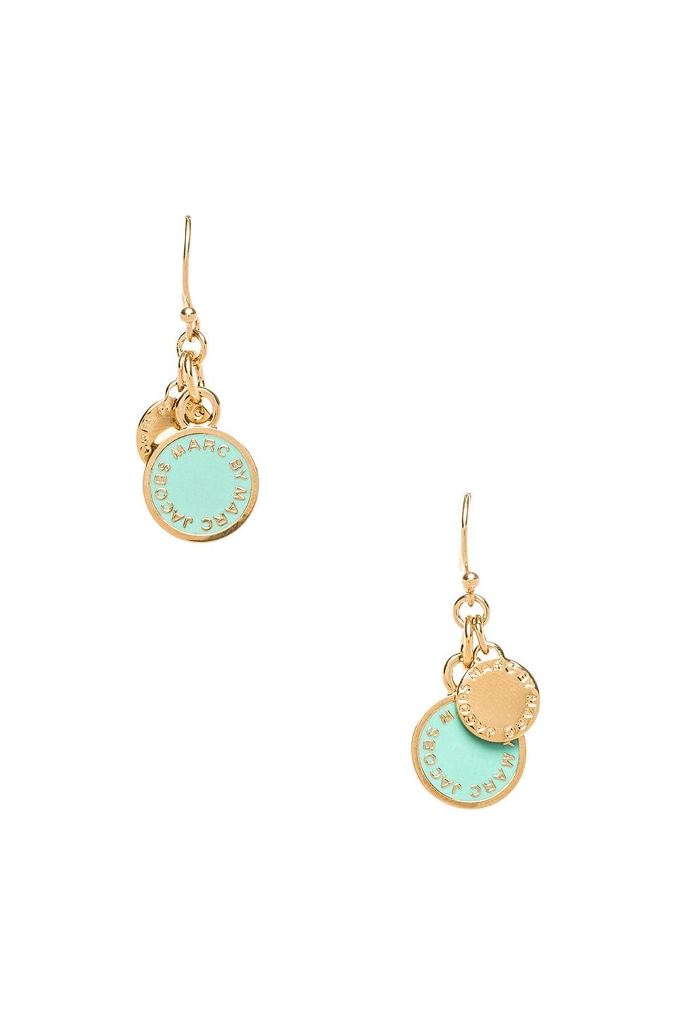 Marc by Marc Jacobs Classic Marc Enamel Discs Earrings in Dusty Jade Green & Oro