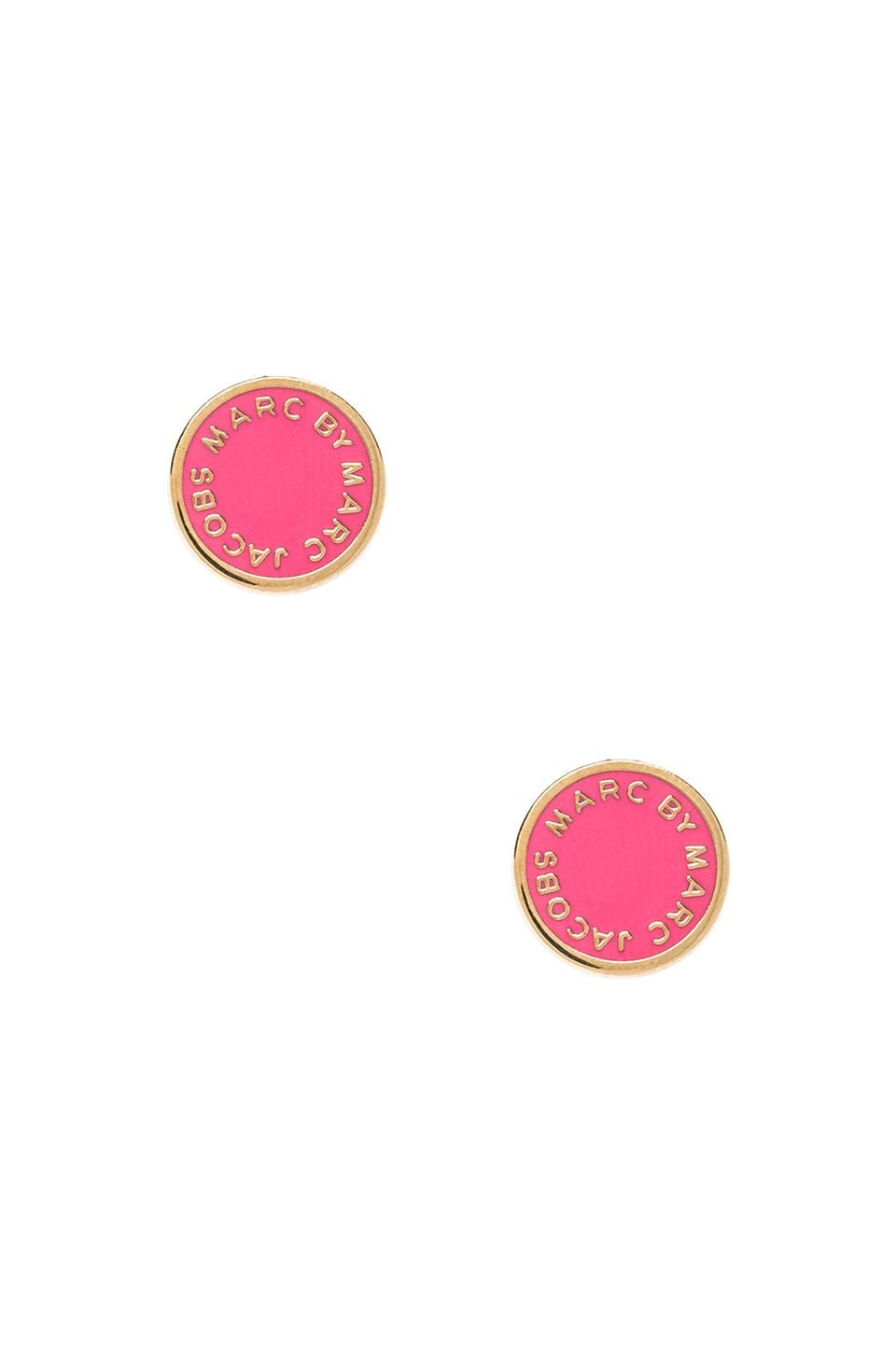 Marc by Marc Jacobs Classic Marc Enamel Logo Disc Studs in Ross Mexicana & Oro