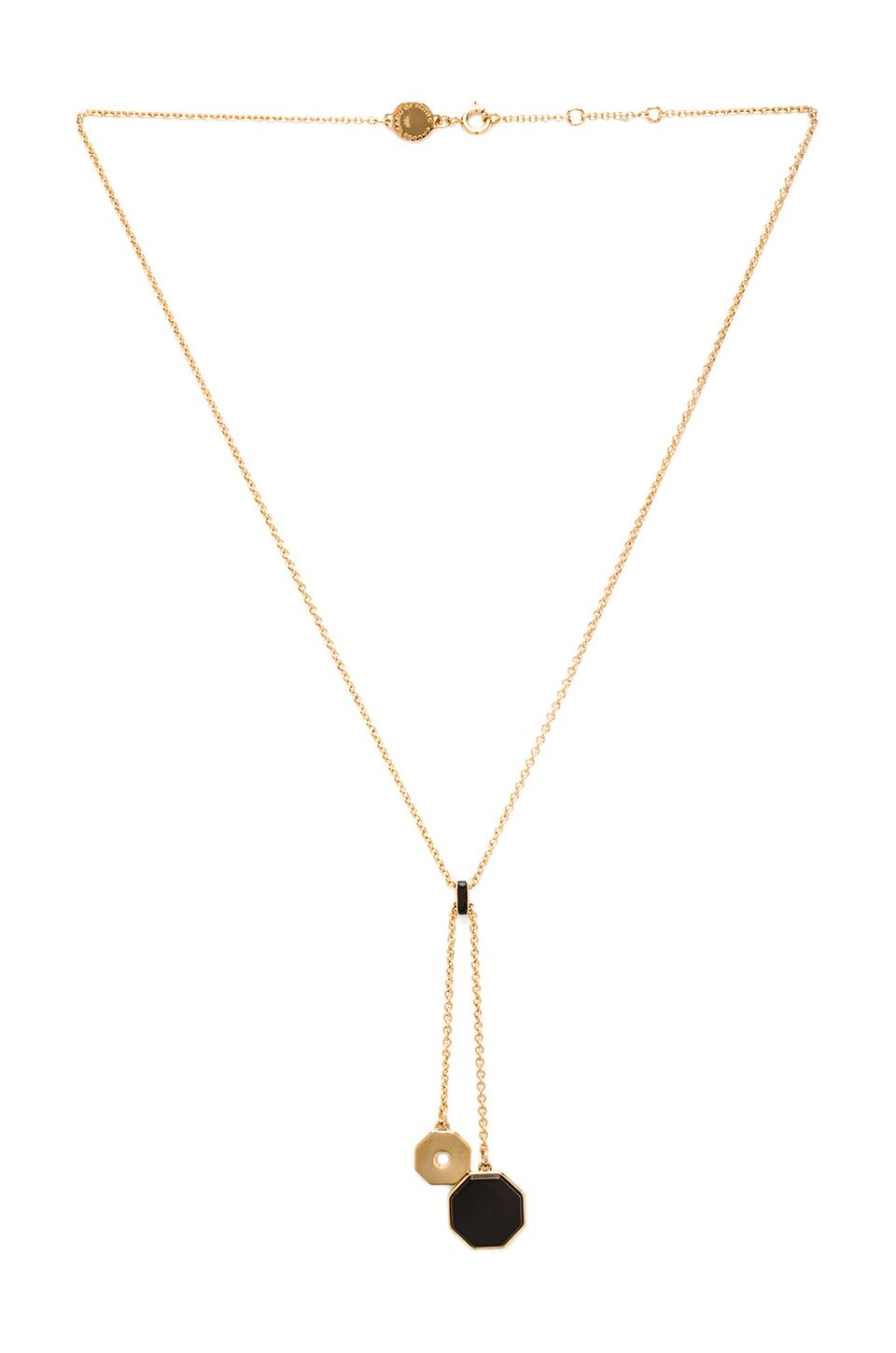 Marc by Marc Jacobs Octi Balancing Bolts Necklace in Black & Oro