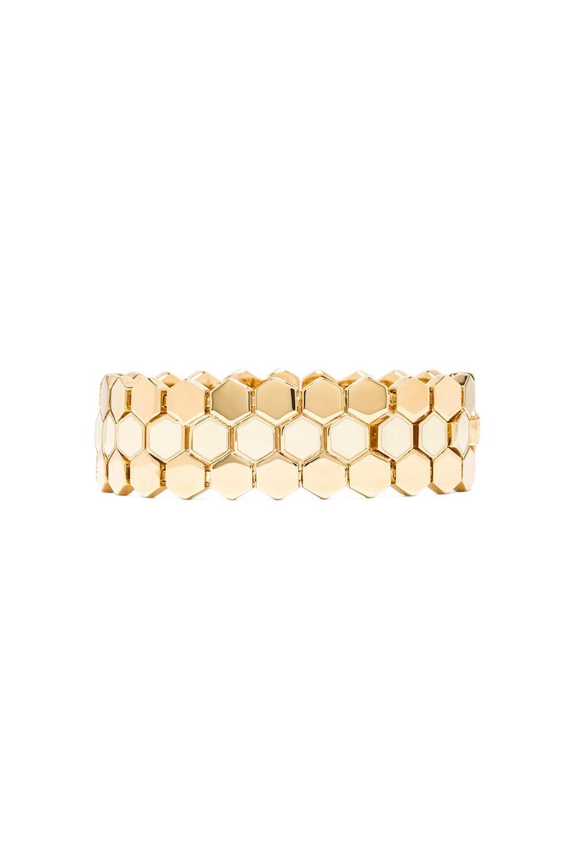 Marc by Marc Jacobs Octi Bolts Enamel Gate Link Bracelet in Cream & Oro