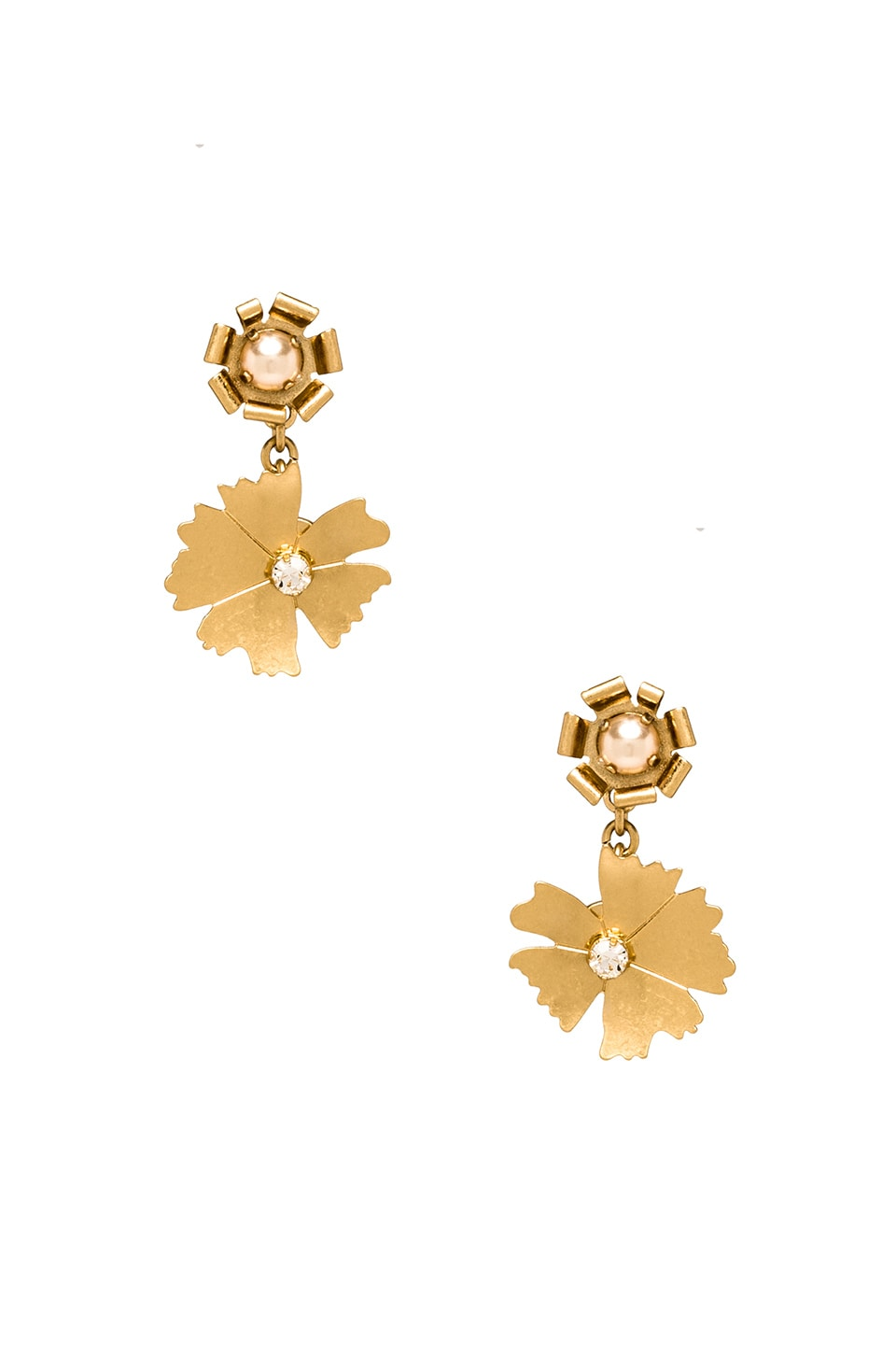 Marc by Marc Jacobs Pinwheel Flower Mini Bouquet Drop Earrings in Antique Gold
