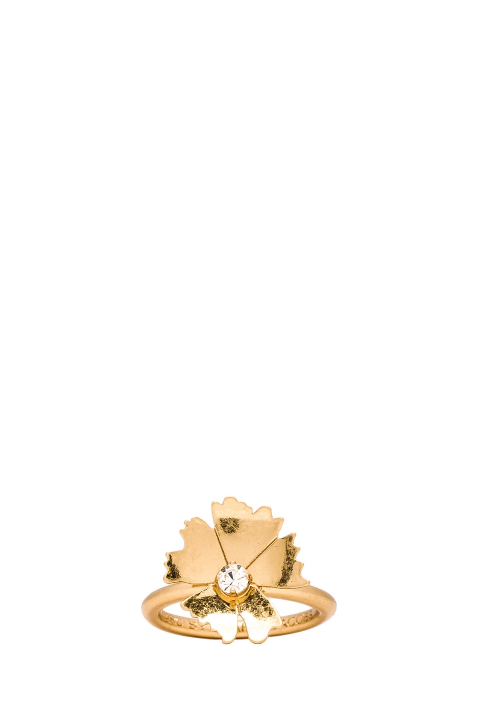 Marc by Marc Jacobs Pinwheel Flower Mini Ring in Antique Gold & Crystal
