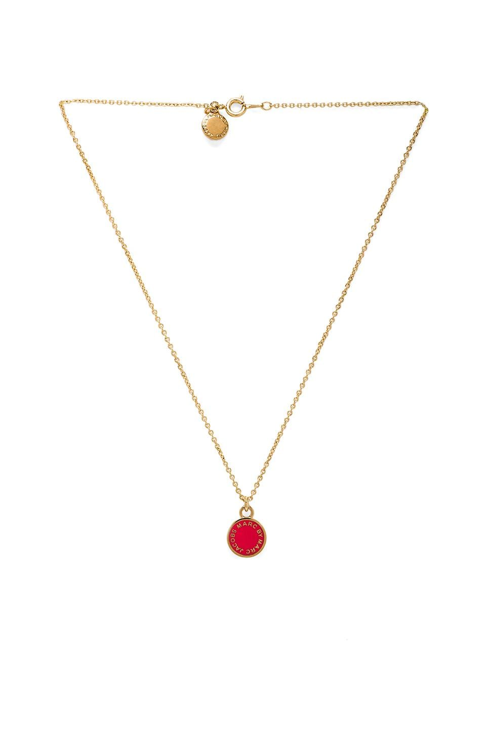 Marc by Marc Jacobs Classic Marc Enamel Disc Pendant in Infrared & Oro