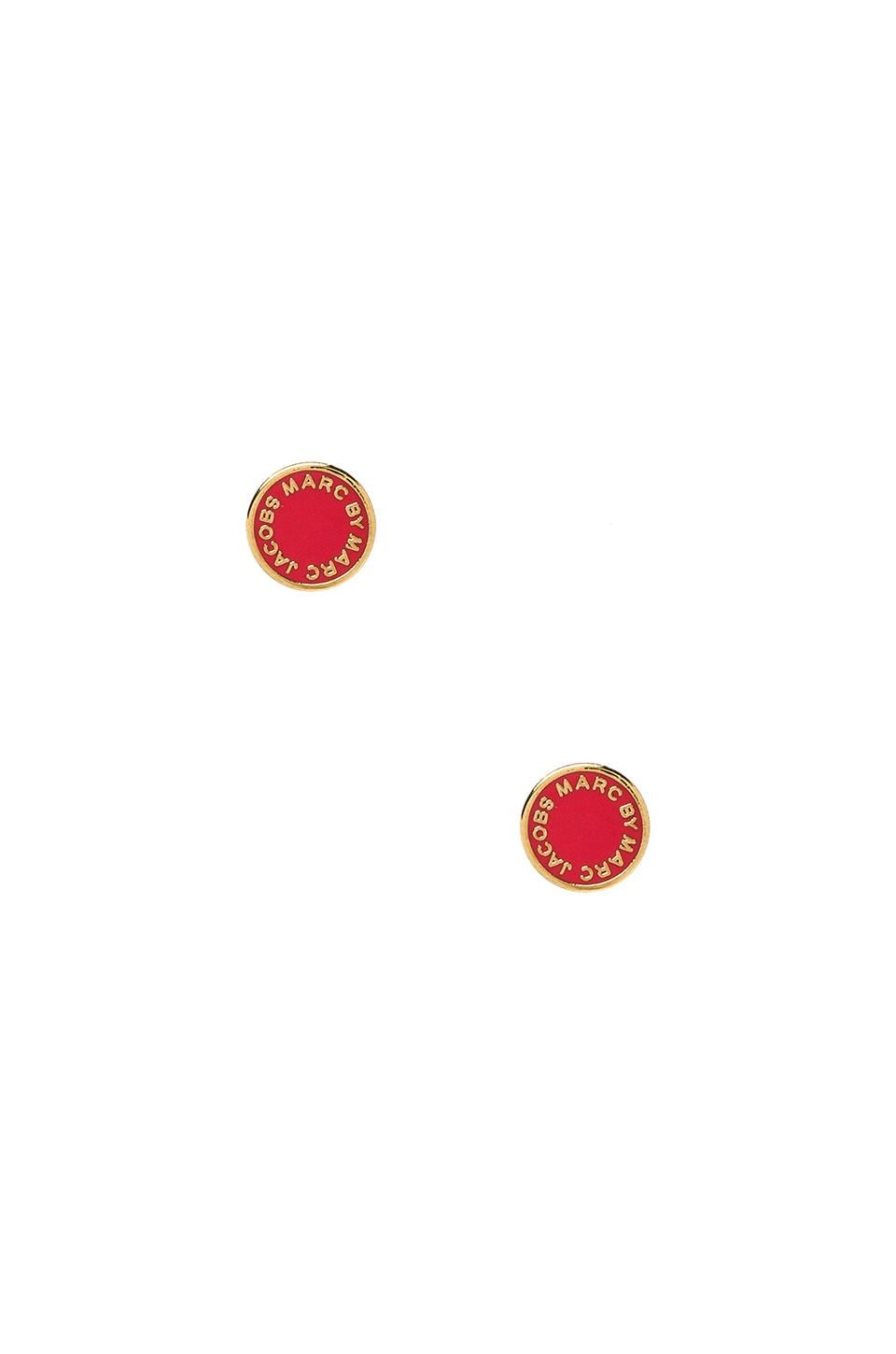 Marc by Marc Jacobs Classic Marc Enamel Logo Disc Studs in Infrared & Oro