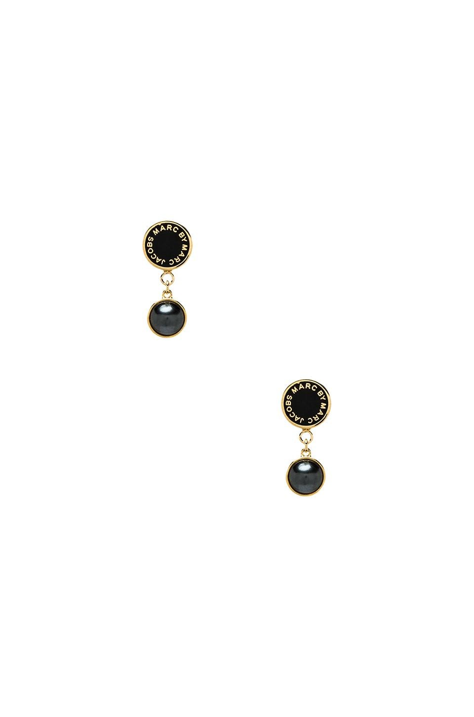 Marc by Marc Jacobs Classic Marc Enamel Disc Pearl Drop Earrings in Black & Oro