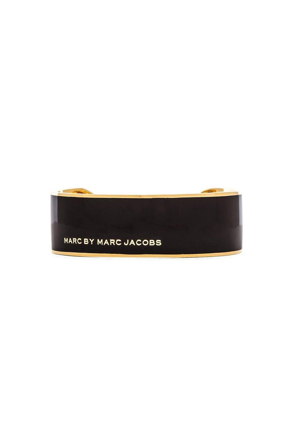 Marc by Marc Jacobs Modern Marc Logo Modern Cuff in Black & Oro