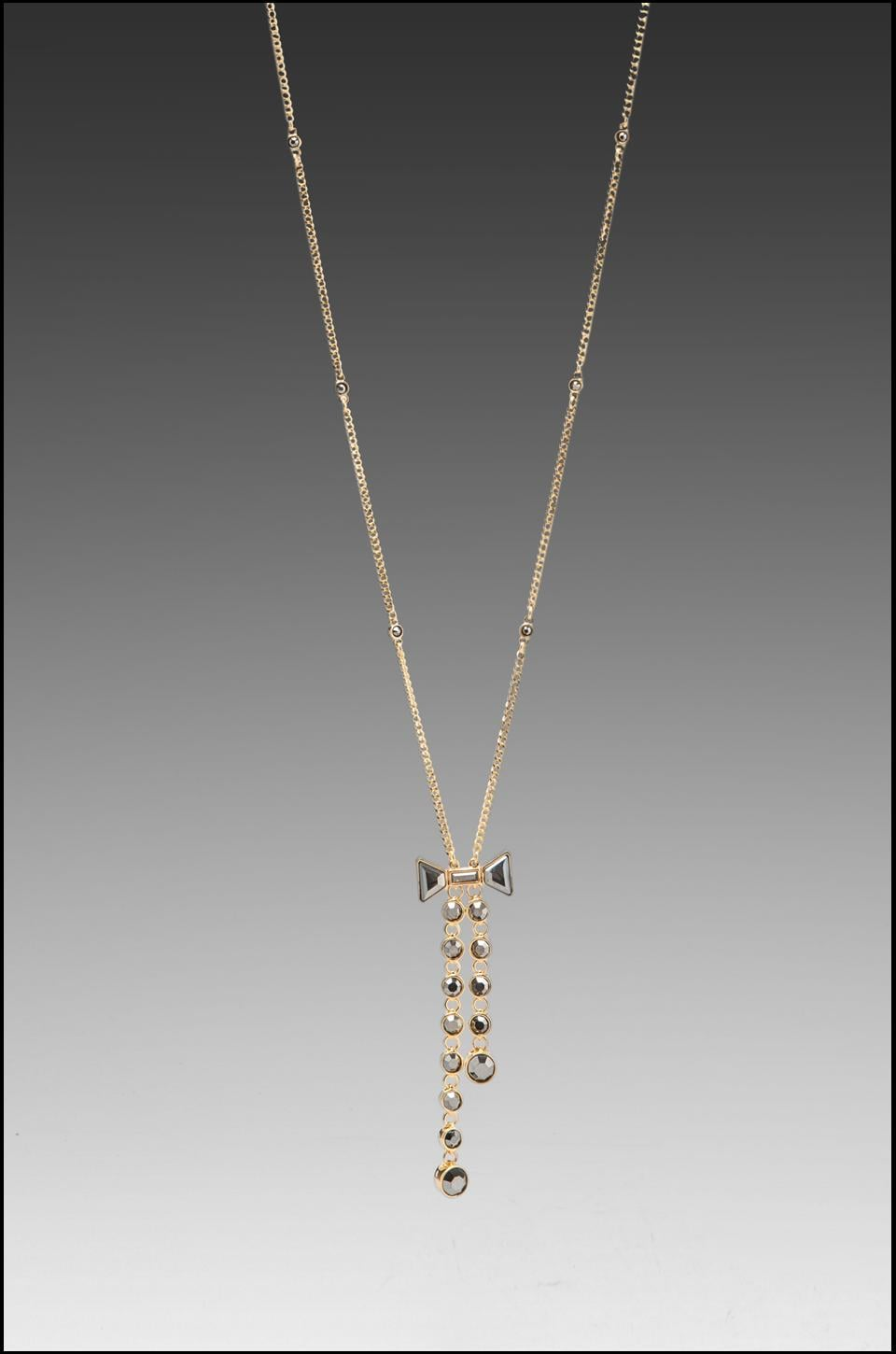 Marc by Marc Jacobs Polka Dot Bow Lariat Necklace in Silver Flare Oro