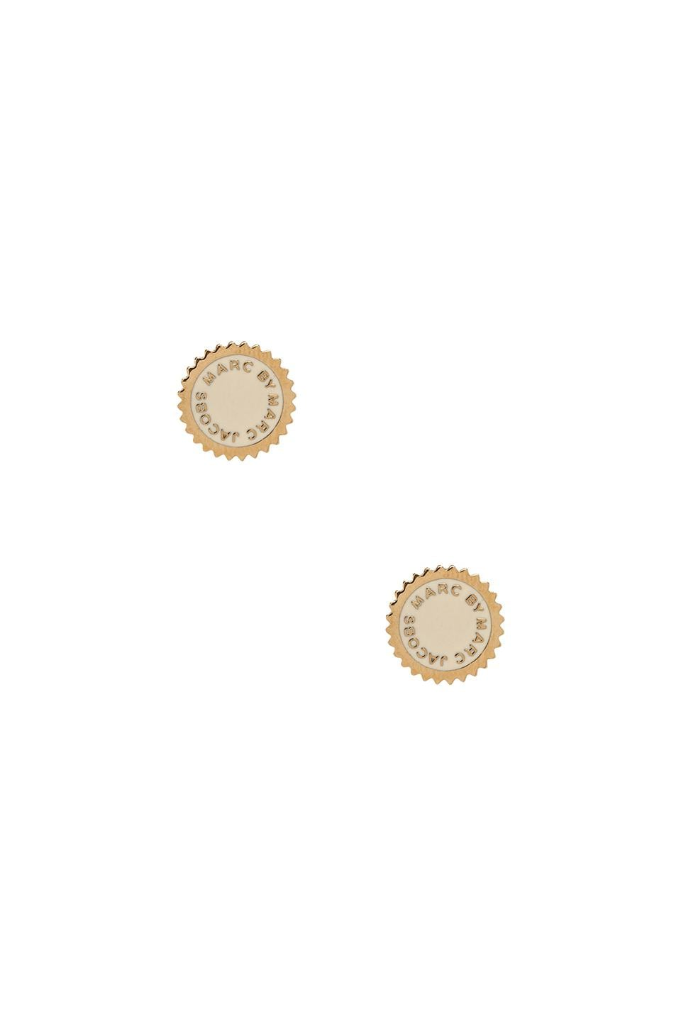 Marc by Marc Jacobs New Classic Marc Saw Tooth Enamel Disc Studs in Creme