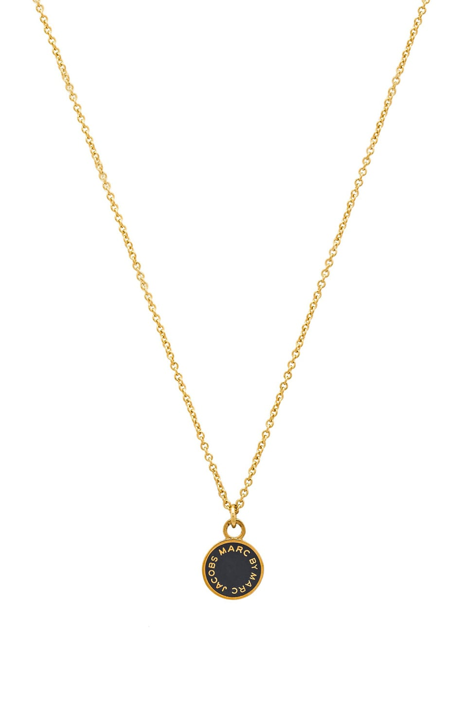 Marc by Marc Jacobs Classic Marc Enamel Disc Pendant Necklace in Gunmetal