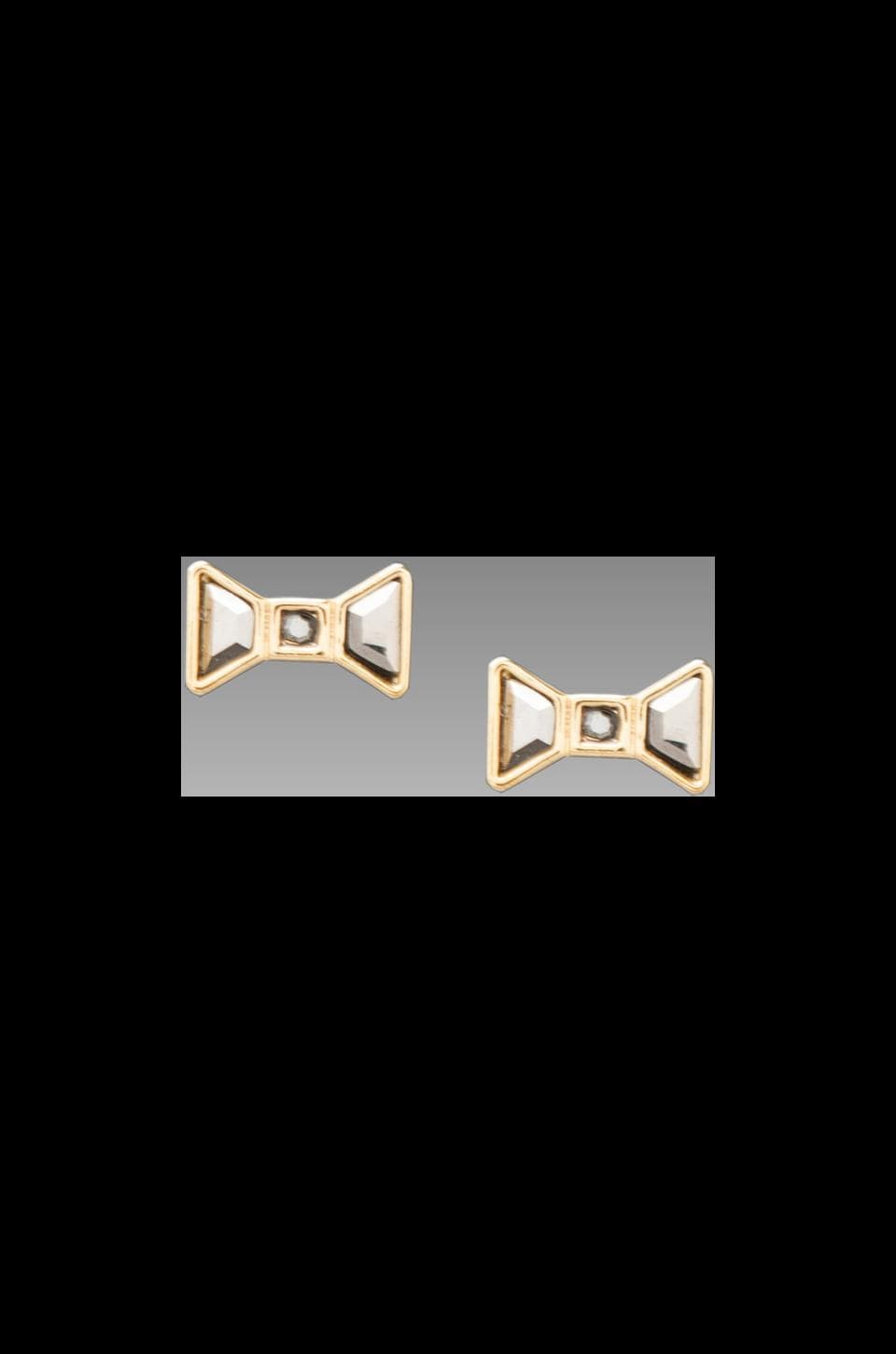 Marc by Marc Jacobs Polka Dot Bow Stud Earrings in Silver Flare Oro
