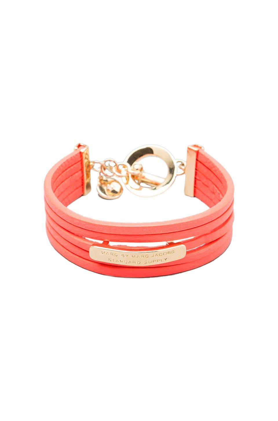 Marc by Marc Jacobs Multi Leather Toggle Bracelet in Highlighter Orange