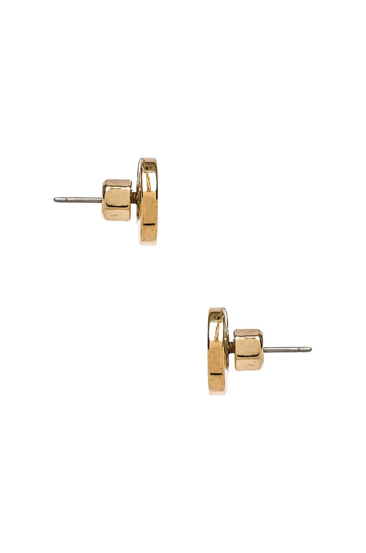 Marc by Marc Jacobs Enamel Logo Disc Stud Earrings in Cream Oro