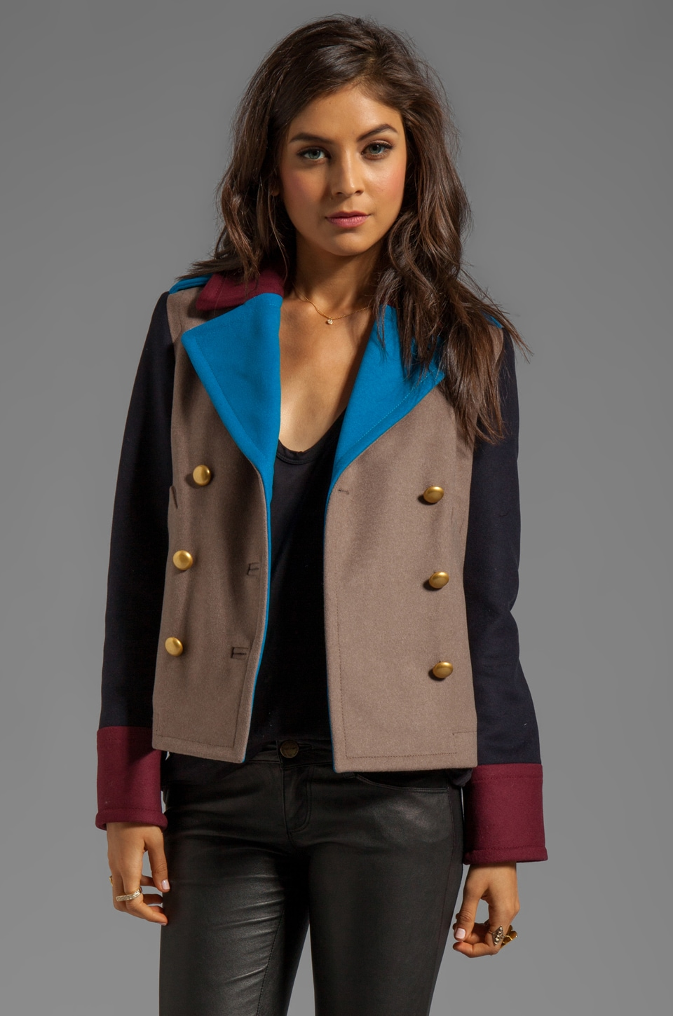 Marc by Marc Jacobs Nicolette Colorblocked Wool Jacket in Dusty Brown Melange Multi