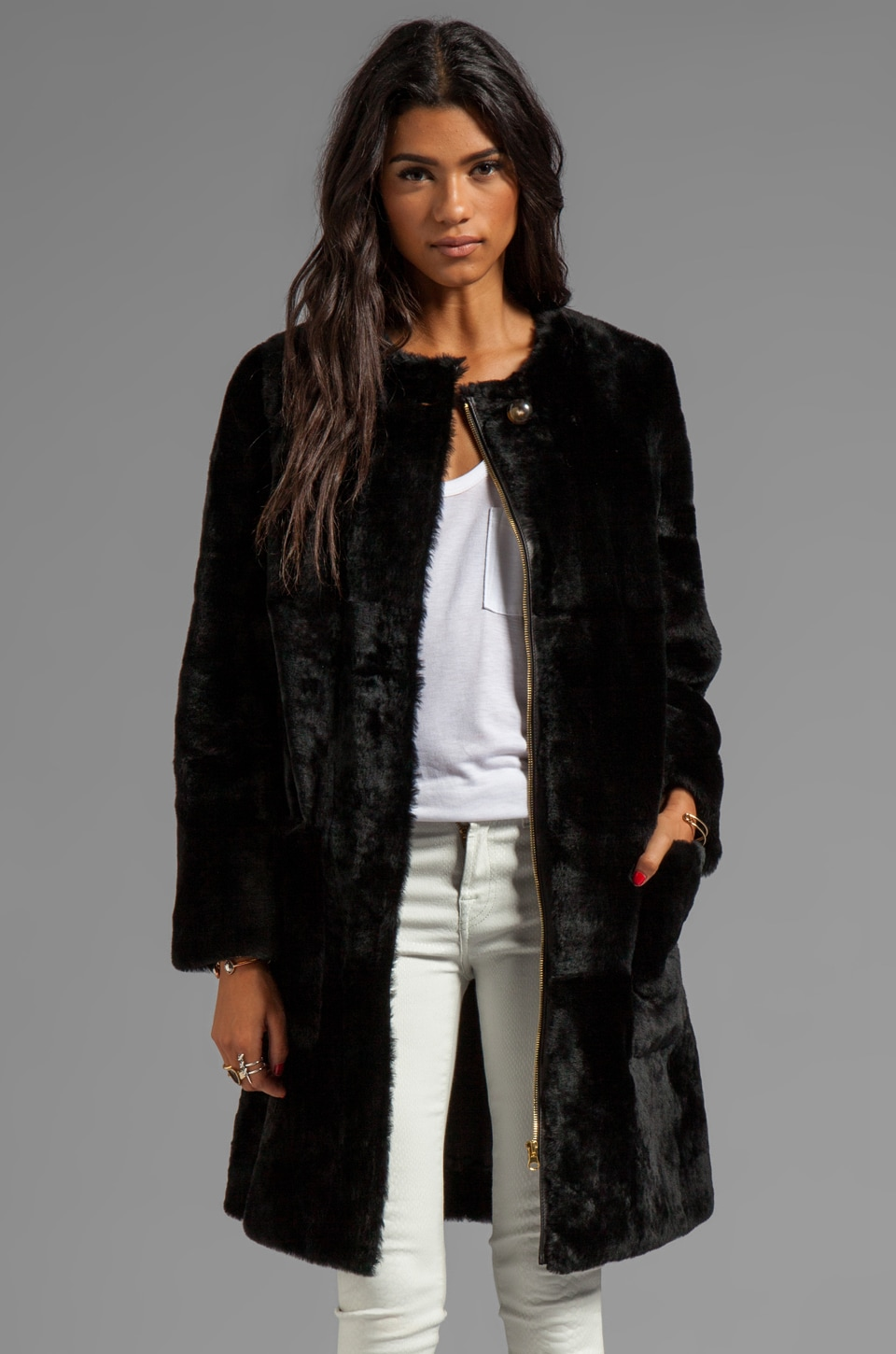 Marc by Marc Jacobs Hudson Shearling Long Coat in Black