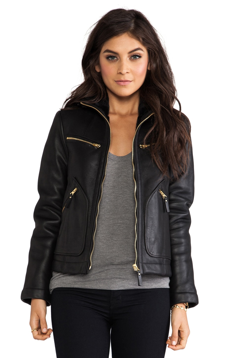 Marc by Marc Jacobs Hudson Shearling Short Coat in Black