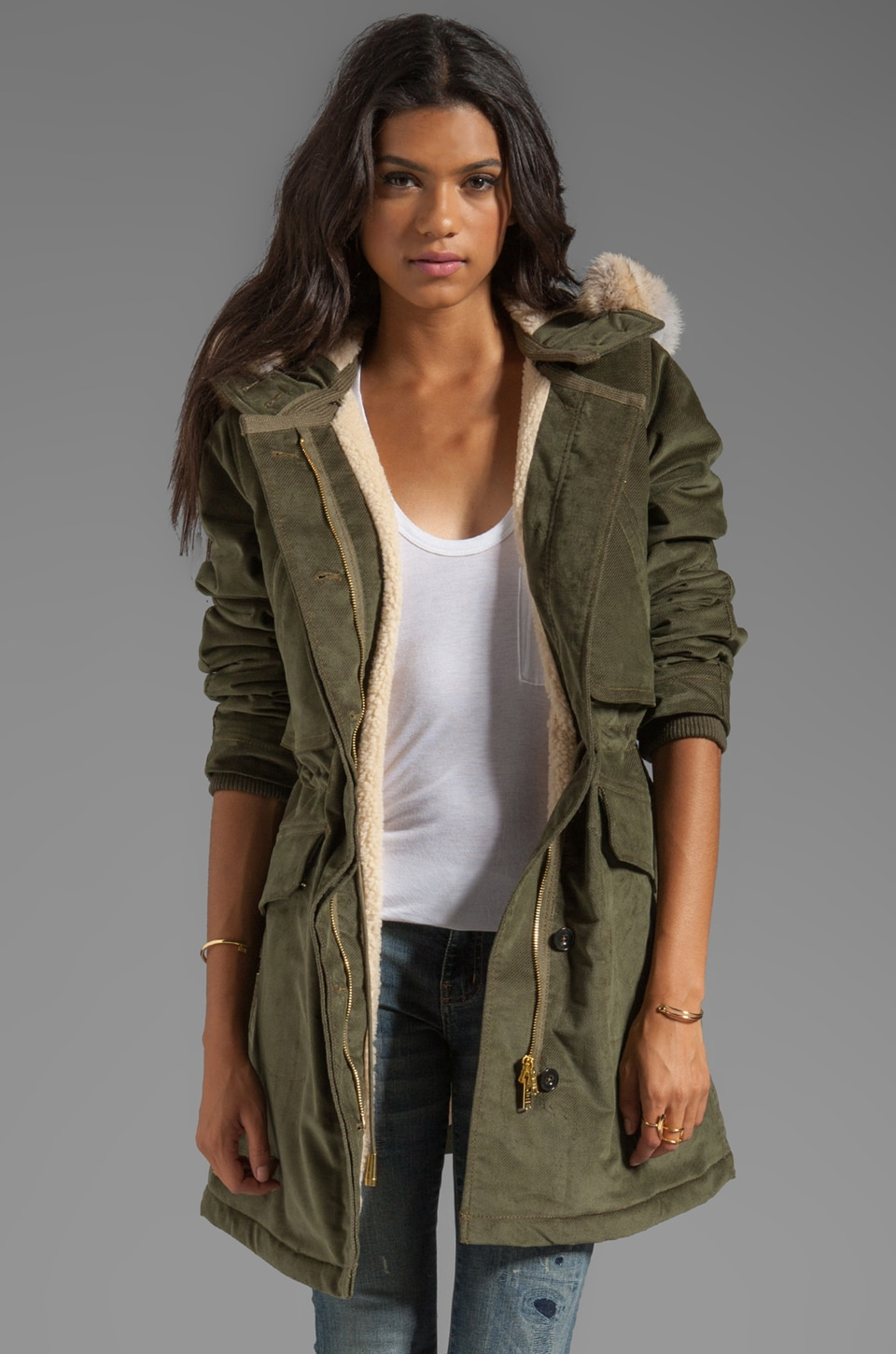 Marc by Marc Jacobs Rainbow Corded Twill Coat in Foliage Green