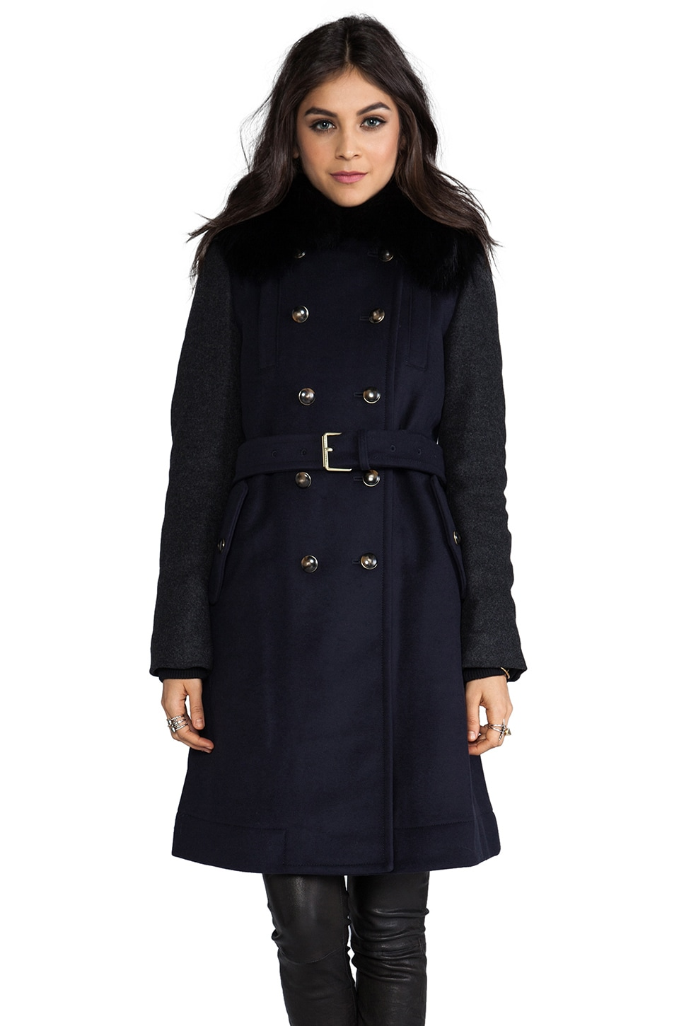 Marc by Marc Jacobs Nicolette Colorblocked Wool Coat in General Navy Multi