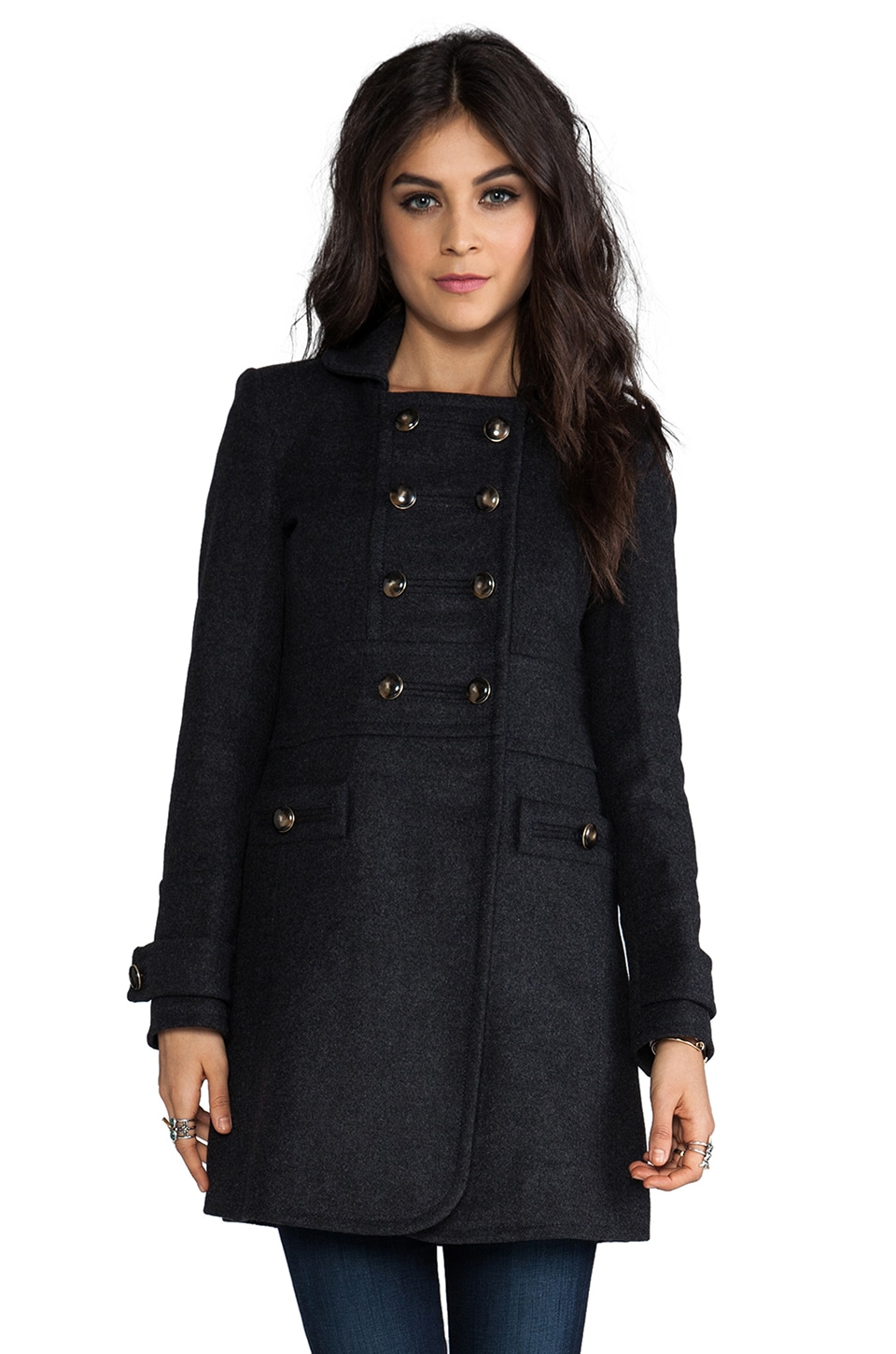 Marc by Marc Jacobs Nicolette Wool Coat in Dark Charcoal Melange