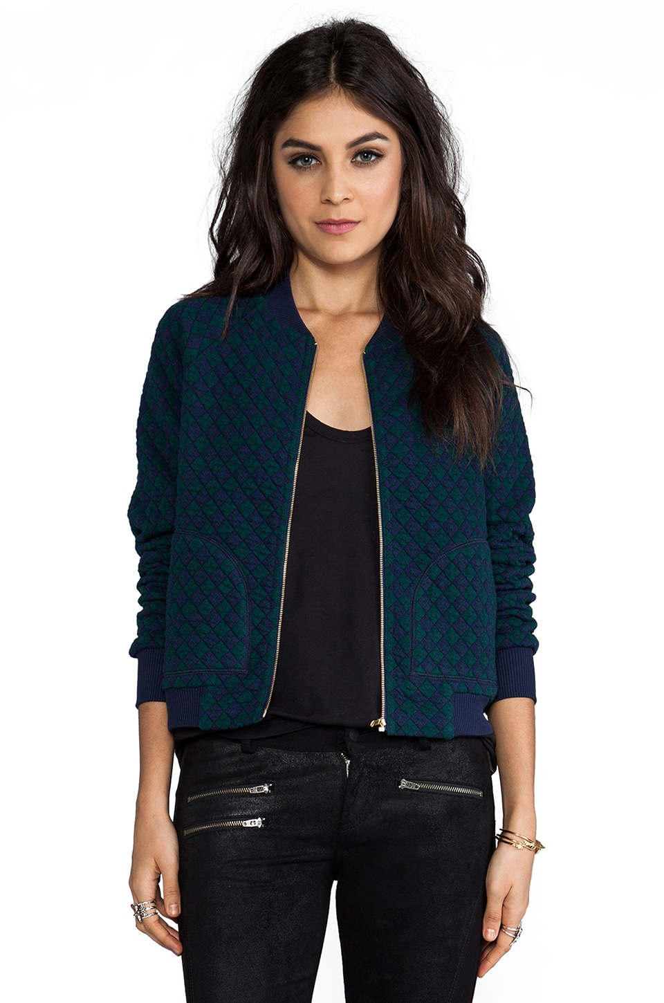 Marc by Marc Jacobs Quilty Argyle Bomber Jacket in Jungle Green Multi