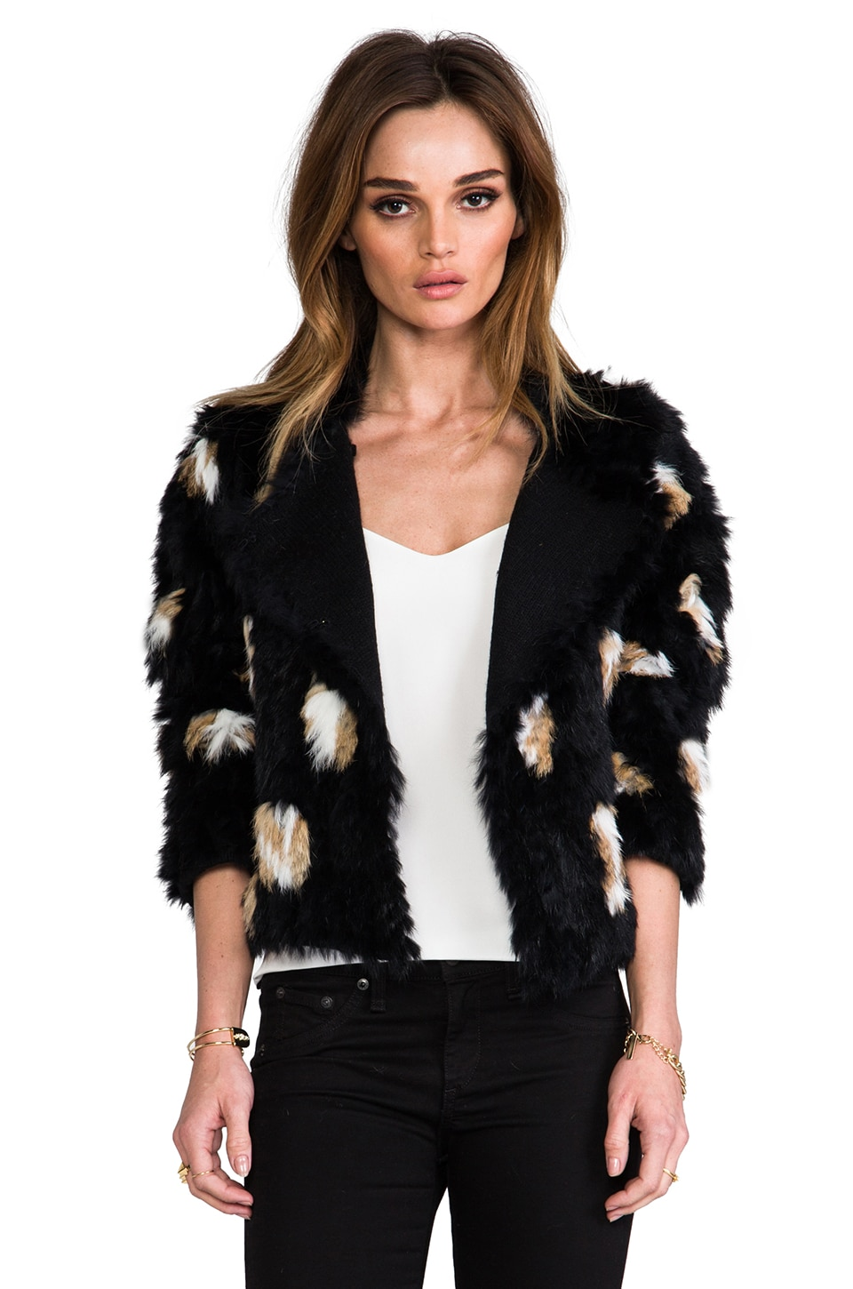 Marc by Marc Jacobs Jacq Rabbit Jacket in Black Pepper