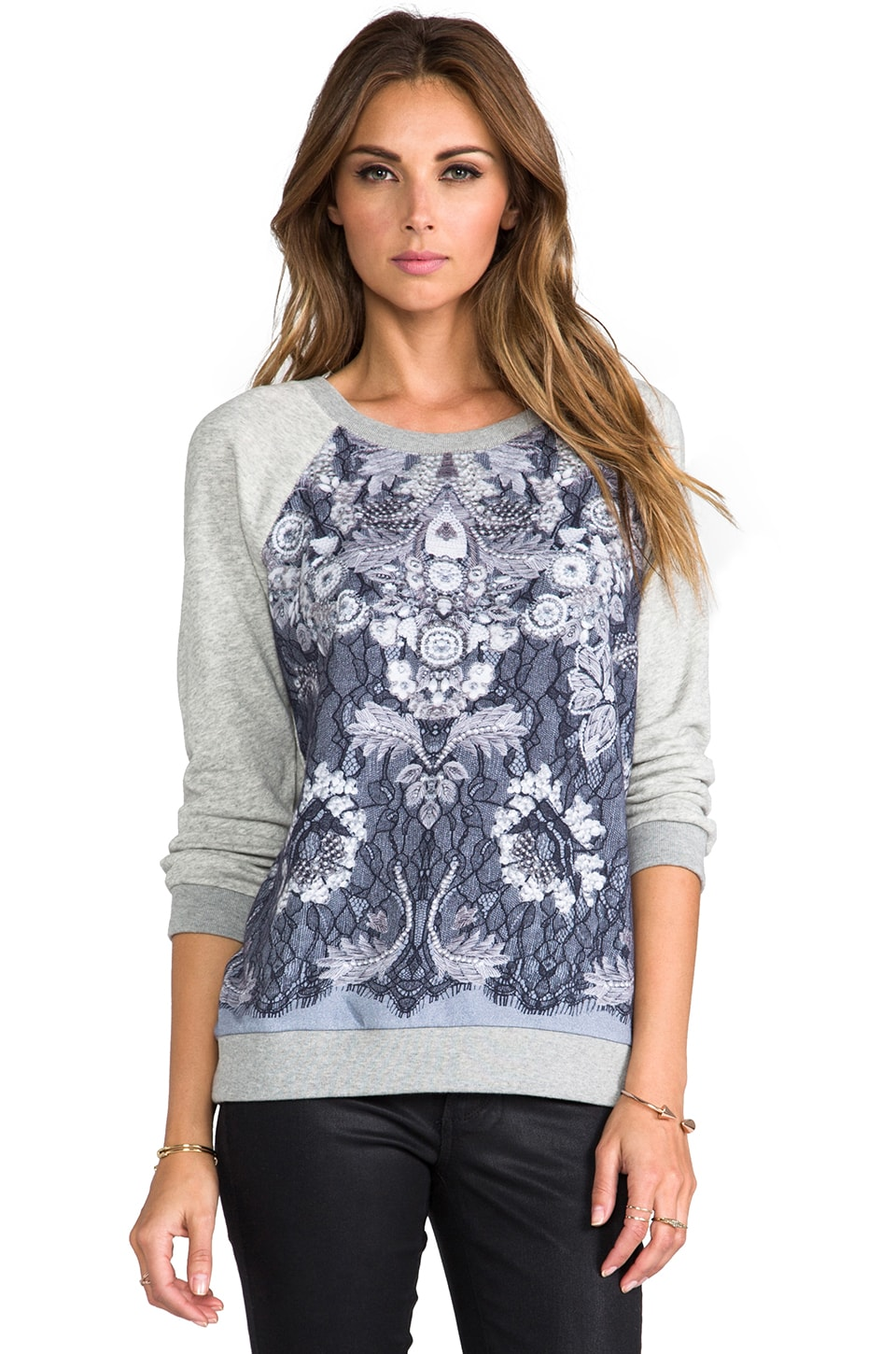 Marc by Marc Jacobs Lena Printed Sweatshirt in Light Grey Melange
