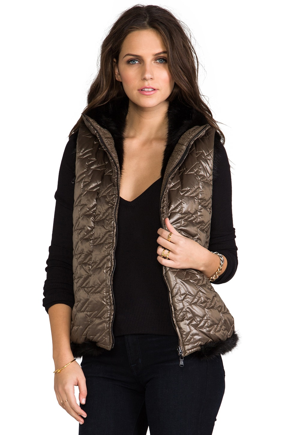 Marc by Marc Jacobs Logan Reversible Faux Fur Puffer Vest in Dirty Martini