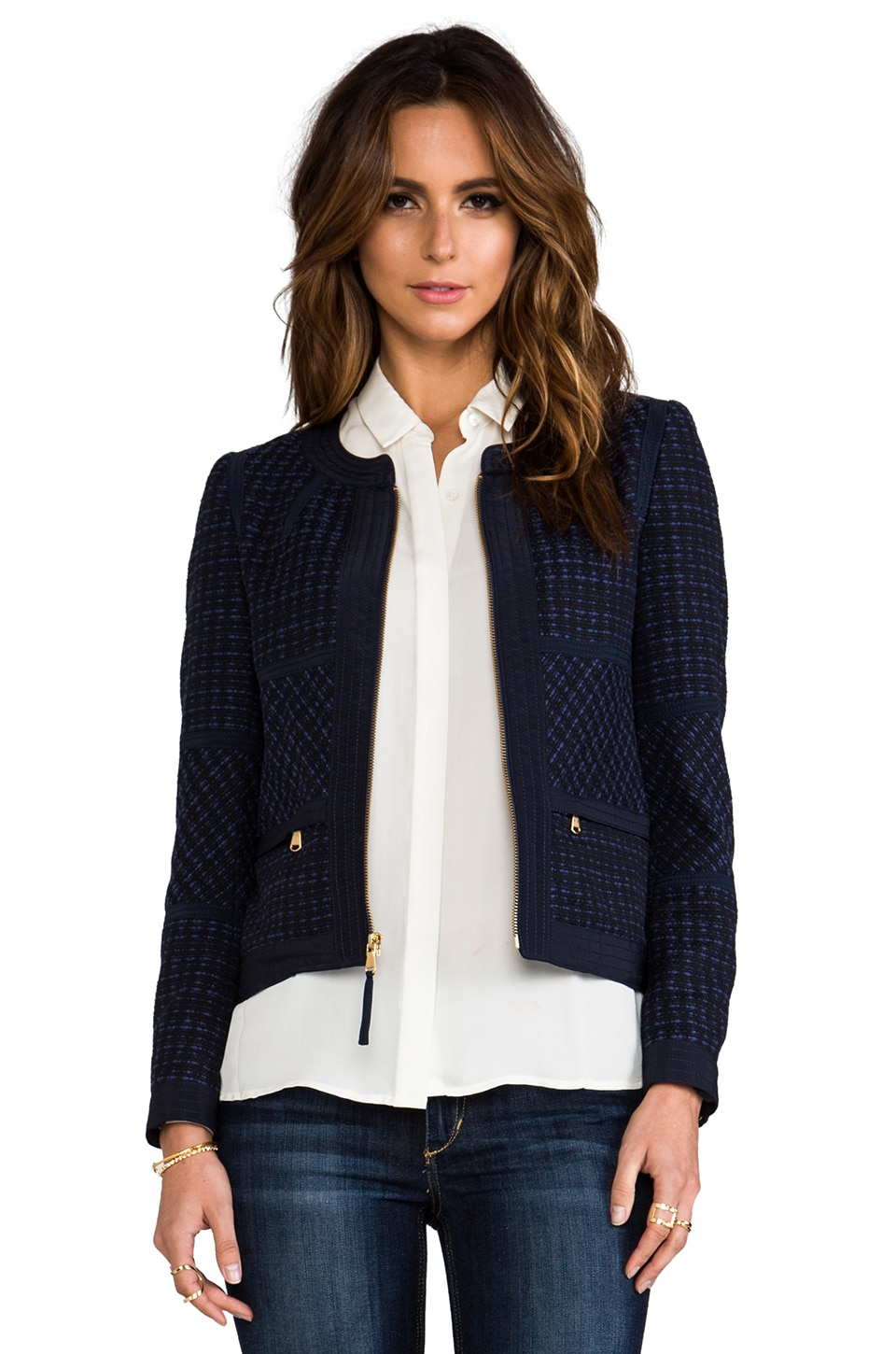 Marc by Marc Jacobs Cacey Tweed Jacket in Marine Multi