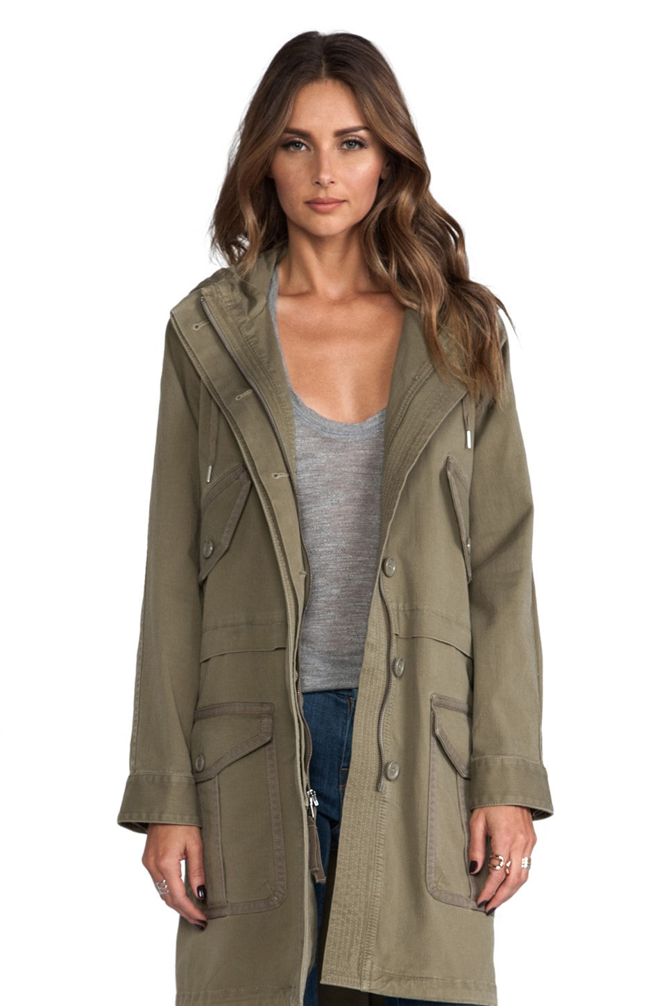 Marc by Marc Jacobs Zeta Twill Trench in Dusty Green