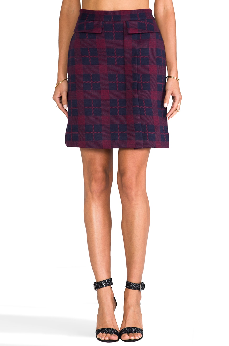 Marc by Marc Jacobs Maya Plaid Jacquard Skirt in Ink Blue Multi