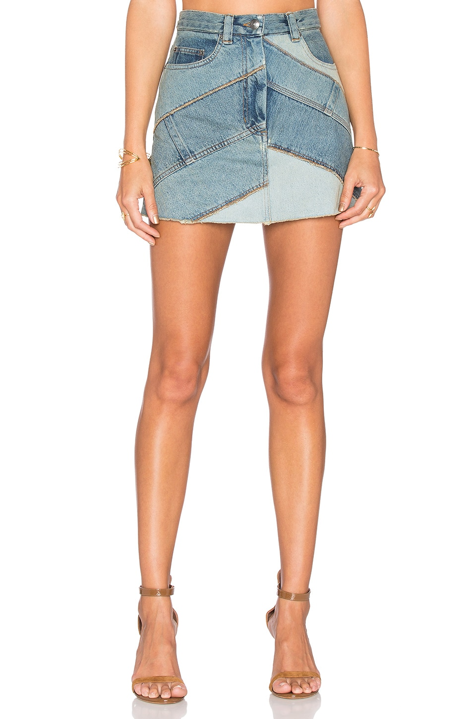 Marc by Marc Jacobs Chevron Mini Skirt in Patched Blue