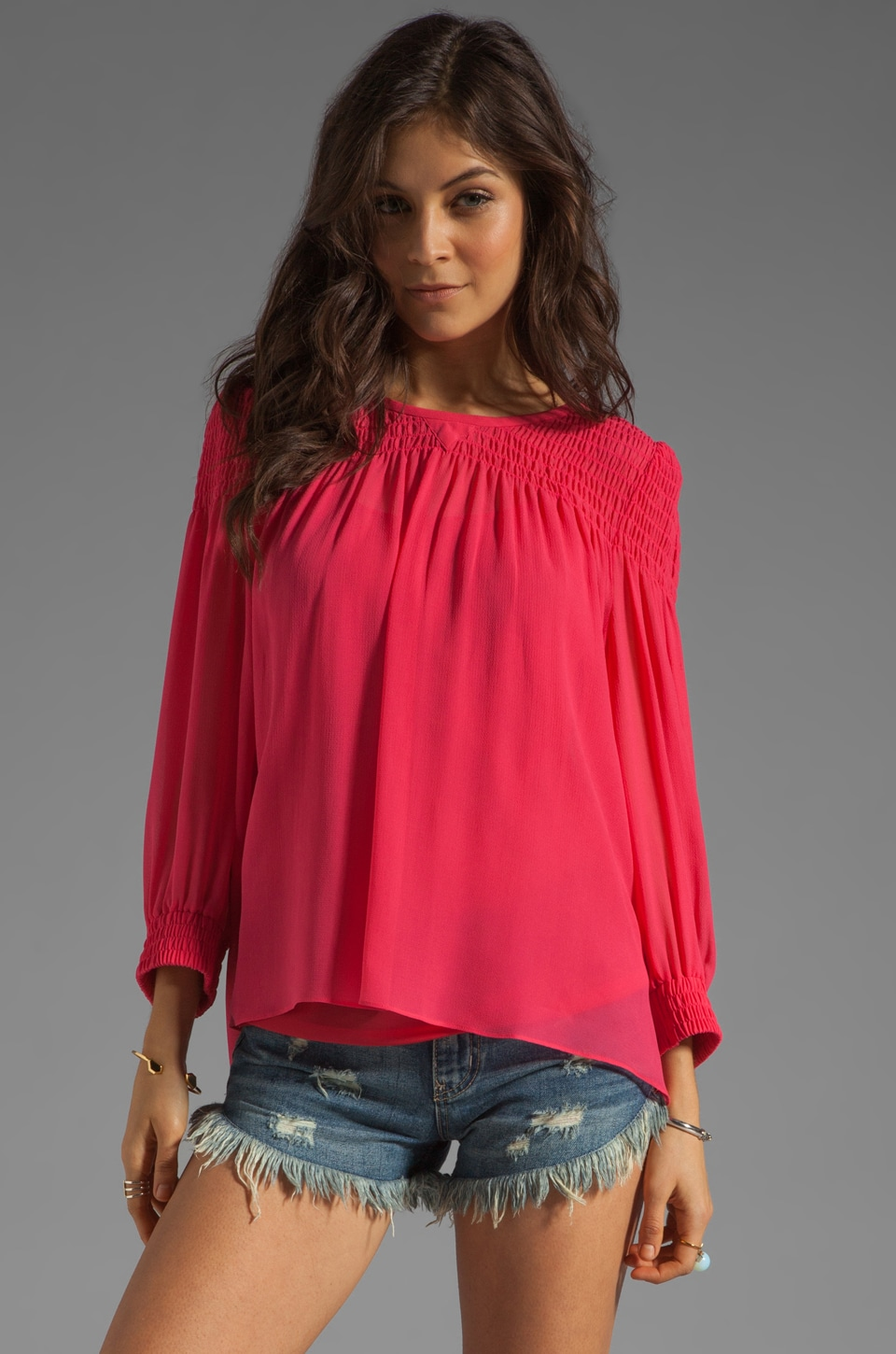 Marc by Marc Jacobs Crystal Textured Silk Top in Neon Pink