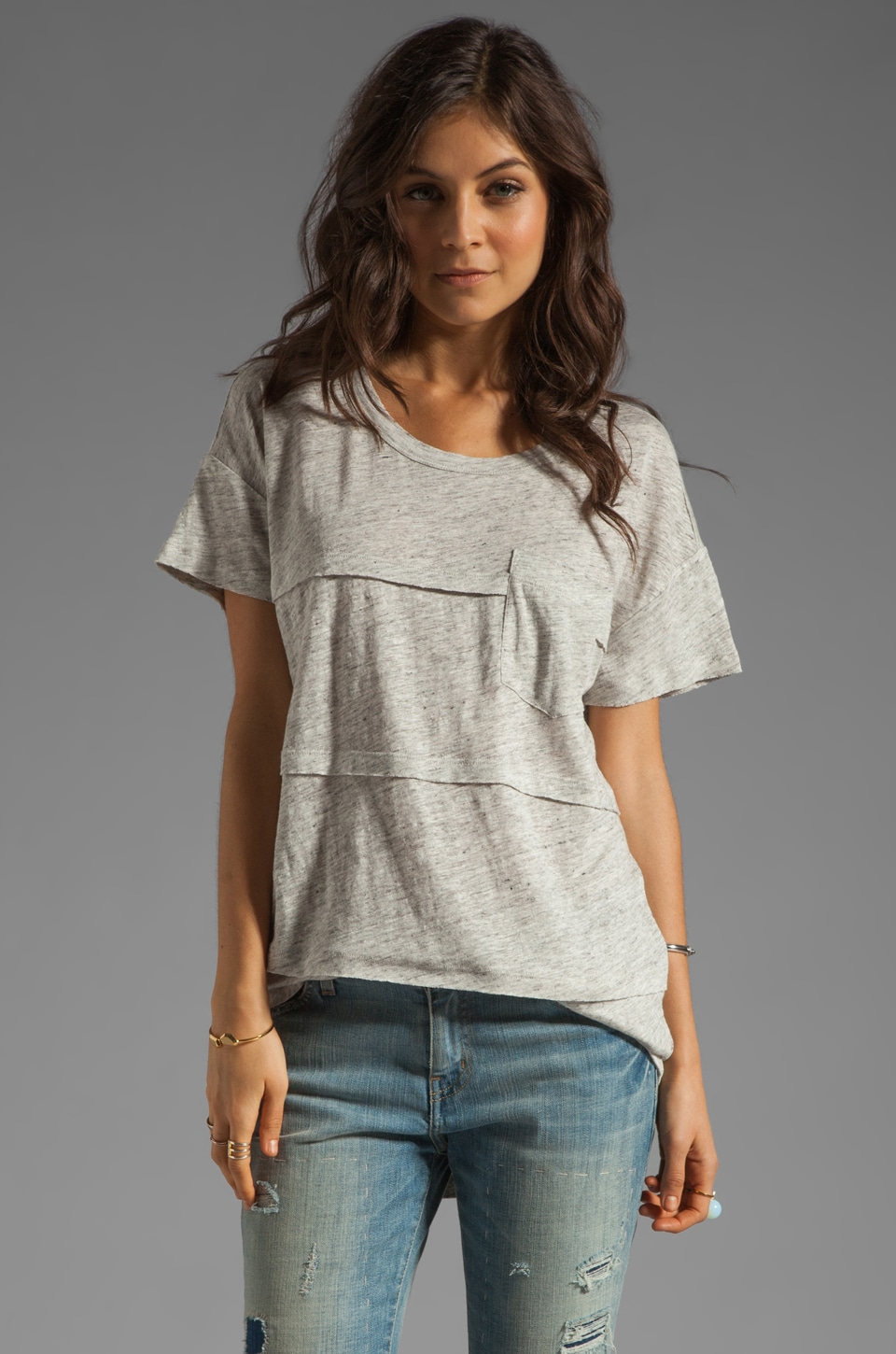 Marc by Marc Jacobs Slubbed Linen Pocket Tee in Stingray Grey Melange