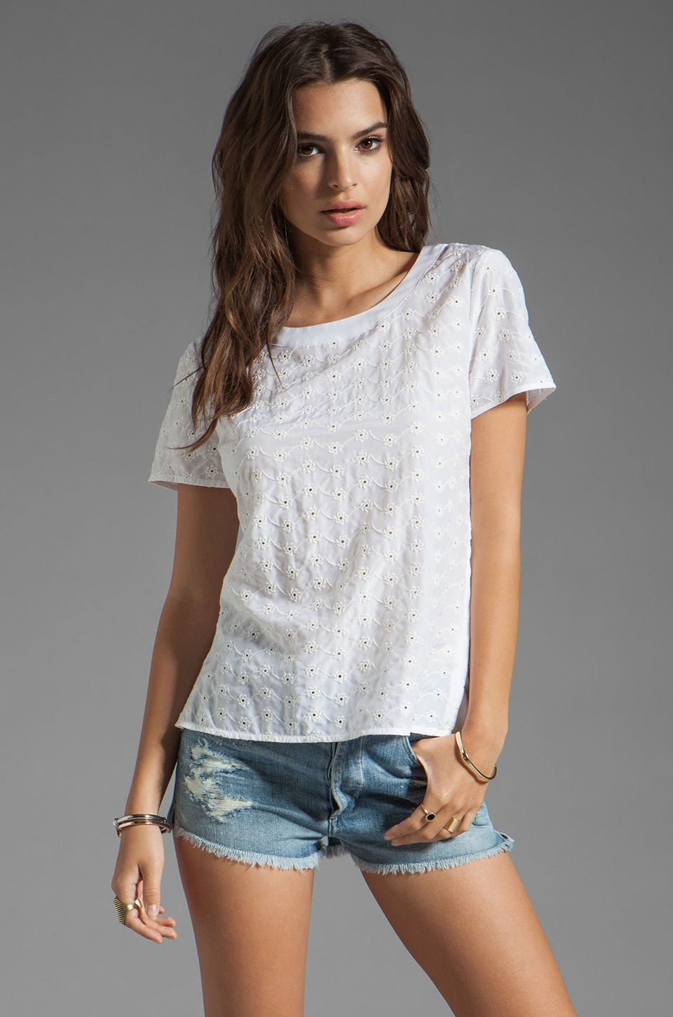 Marc by Marc Jacobs Rosie Eyelet Top in Wicken White Multi