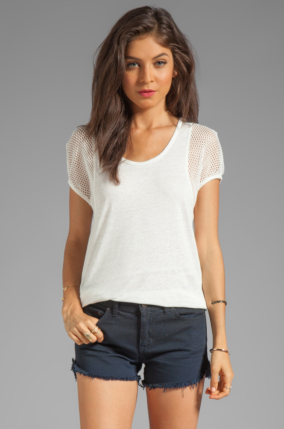 Marc by Marc Jacobs Texture Tee Linen Top in Marshmallow