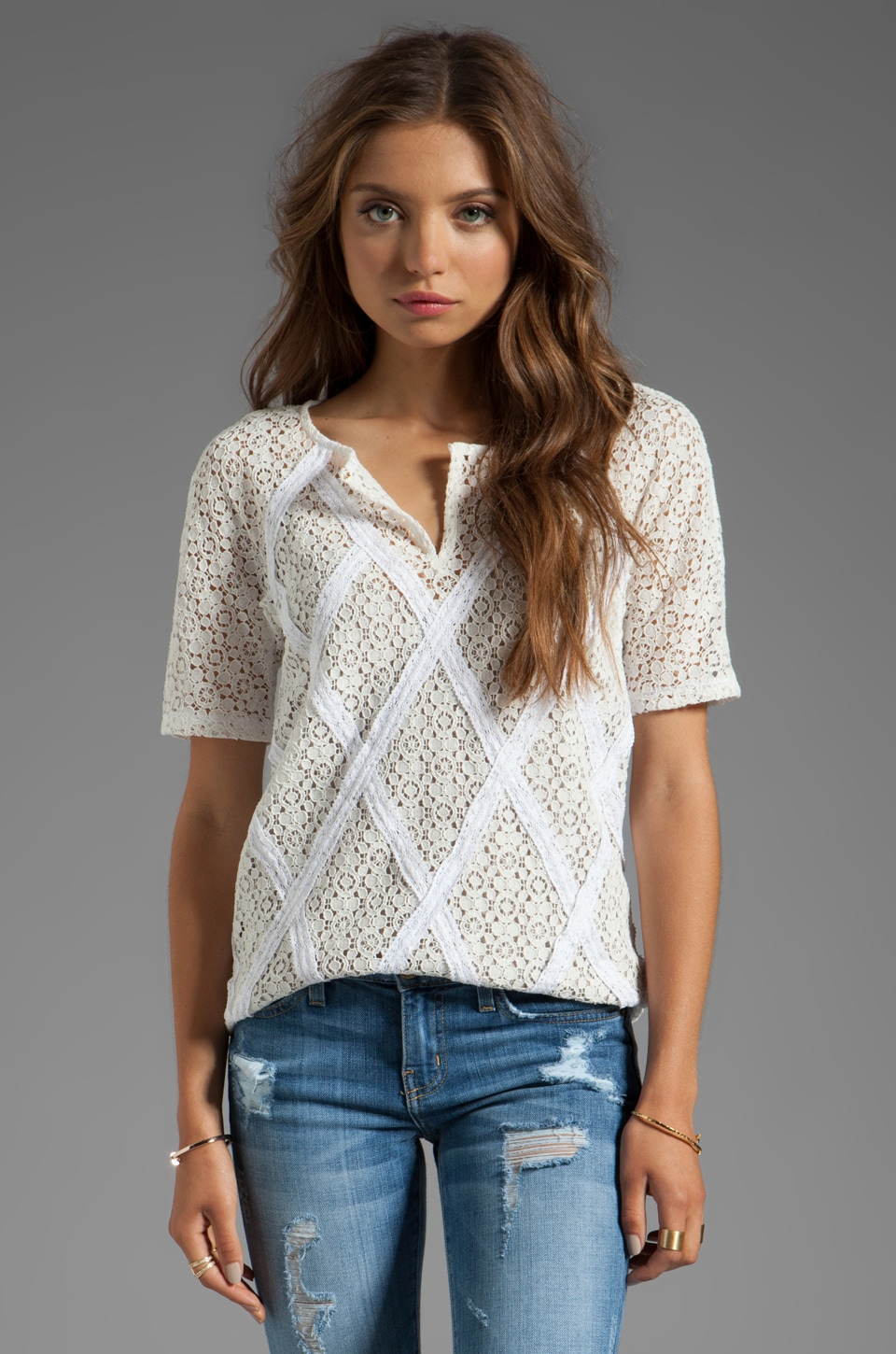 Marc by Marc Jacobs Collage Lace Short Sleeve Top in Snow White