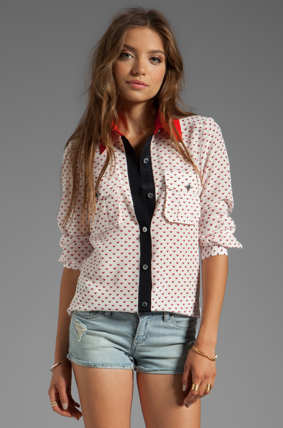 Marc by Marc Jacobs Vivie Print Button Down in Canvas White