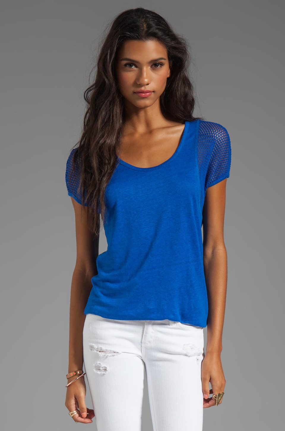 Marc by Marc Jacobs Texture Tee Linen Top in Rich Royal